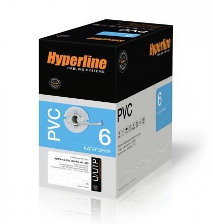 Кабель витая пара UTP Hyperline UUTP4-C6-S23-IN-PVC-GY-305