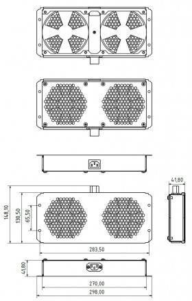 Модуль вентиляторный Hyperline TFAB-T2FR-RAL9004