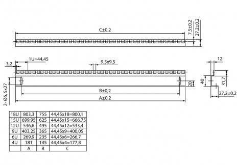 Hyperline CPR10-6U-236-RAL9004