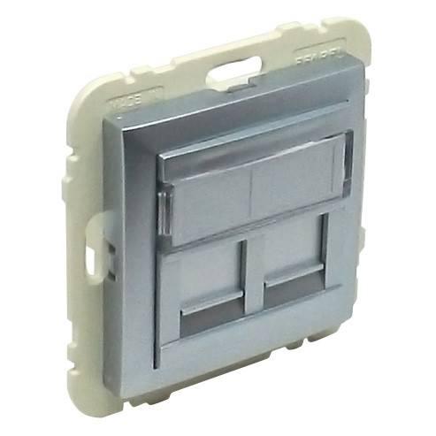 Лицевая панель для розетки RJ45 Efapel (90442 SAL) алюминий