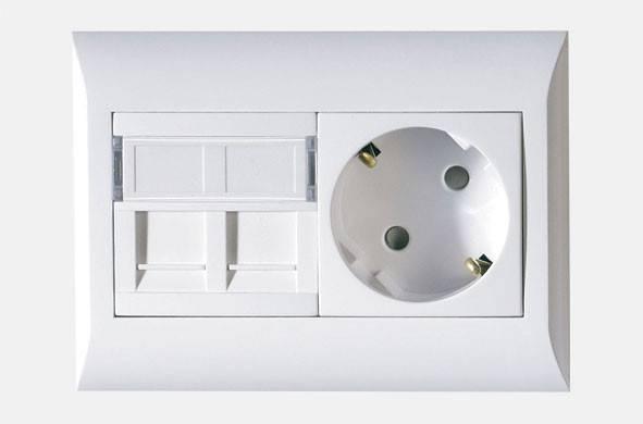 Лицевая панель для розетки Efapel со шторкой на 2 Keyston (45971 SBR) белый