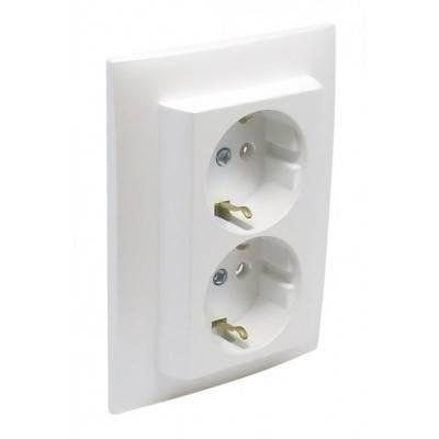 Розетка электрическая Efapel Logus90, 2x2к+З, 16А, Schuko, цвет: белый