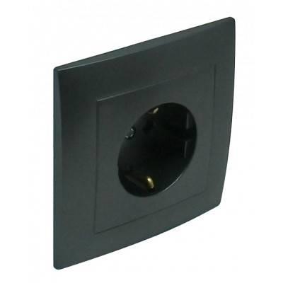 Розетка электрическая Efapel Logus90, 2к+З, 16А, Schuko, цвет: тёмно-серый