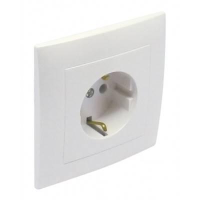 Розетка электрическая Efapel Logus90, 2к+З, 16А, Schuko, шторки защитные, цвет: белый