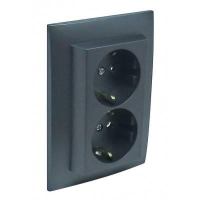 Розетка электрическая Efapel Logus90, 2x2к+З, 16А, Schuko, цвет: тёмно-серый