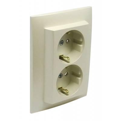 Розетка электрическая Efapel Logus90, 2x2к+З, 16А, Schuko, шторки защитные, цвет: жемчуг