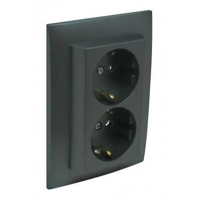 Розетка электрическая Efapel Logus90, 2x2к+З, 16А, Schuko, шторки защитные, цвет: тёмно-серый