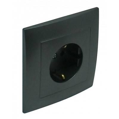 Розетка электрическая Efapel Logus90, 2к+З, 16А, Schuko, шторки защитные, цвет: чёрный