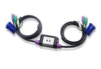 A-A7 Переключатель, электрон., KVM+Audio, 1 user PS2+VGA, 2 cpu PS2+VGA, со встр.шнурами PS2 2x1.2м., 2048x1536, настол., исп.стандарт.шнуры, без OSD, некаскад.,