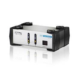 ATEN/VANCRYST VS261-AT-G Переключатель, электрон., DVI+AUDIO, 2> 1 монитор/панель, без шнуров, (1600x1200 60Hz,DDC2B,RSA,пульт ДУ)