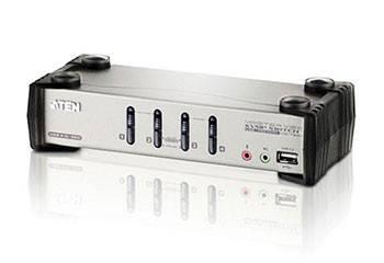 ATEN CS1734B-A7-G Переключатель, электрон, KVM+Audio+USB 2,0, 1 user USB+VGA, 4 cpu PS2/USB+VGA, со шнурами USB 2х1,2м,+2х1,8м,, 2048x1536, настол,, исп,спец,шнуры, OSD, некаскад,,