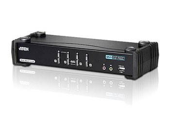 ATEN CS1784A-AT-G Переключатель, электрон., KVM+Audio+USB 2.0, 1 user USB+DVI, 4 cpu USB+DVI, со шнурами USB 4х1.8м., 2560x1600 60Hz DVI-D Dual Link/2048x1536 DVI-A, настол., исп.стандарт.шнуры, без OSD, некаскад., (WIN2000/XP/Vista/MAC/Linux/SUN)
