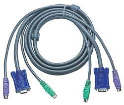 ATEN 2L-1005P/C Шнур, мон+клав+мышь PS/2, HD DB15+2x6MINI-DIN, Female/2xMale-3xMale, 8+6+6 проводов, опрессованный, 5 метр,, черный