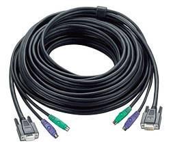 ATEN 2L-1010P/C Шнур, мон+клав+мышь PS/2, HD DB15+2x6MINI-DIN, Female/2xMale-3xMale, 8+6+6 проводов, опрессованный, 10 метр,, черный