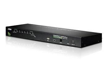 ATEN CS1708A-AT-G Переключатель, электрон., KVM, 1 user PS2/USB+VGA,, 8 cpu PS2/USB+VGA, со шнурами USB 2х1,8м,, 2048x1536, 1U 19