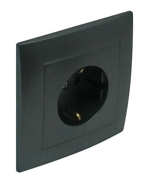 Розетка электрическая Efapel Logus90, 2к+З, 16А, Schuko, цвет: чёрный