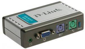 KVM-121 2-port KVM Switch with build in cables, AT&PS/2, Audio Support, D-Link-1